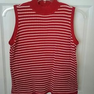 WESTBOUND Red and white sleeveless top size medium